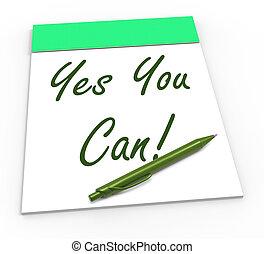 fiducia, self-belief, blocco note, lattina, sì, lei, mostra