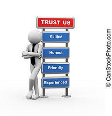 fiducia, uomo affari, concetto, affari, 3d