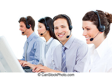 fiducioso, centro, lavorativo, chiamata, agenti, assistenza clienti