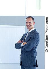 fiducioso, dare, presentazione, uomo affari