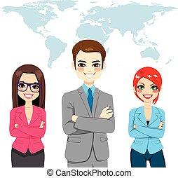 fiducioso, globale, businesspeople, squadra