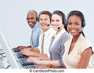 fiducioso, persone, centro, affari, lavorativo, chiamata