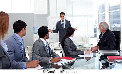 fiducioso, squadra, suo, presentazione, dare, uomo affari