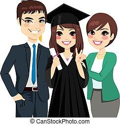 figlia, genitori orgogliosi, graduazione