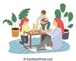 figlia, gioco, blocchi, figlio, pavimento, madre, jenga, seduta, gioco, moquette, spostamento, padre