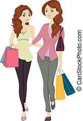 figlia, shopping, mamma