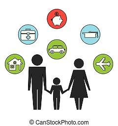 figlio, genitori, set, silhouette, icone