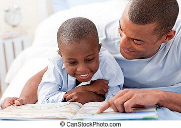 figlio, padre, suo, lettura