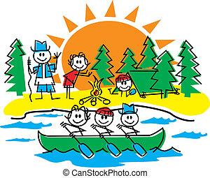 figura, bastone, famiglia campeggia