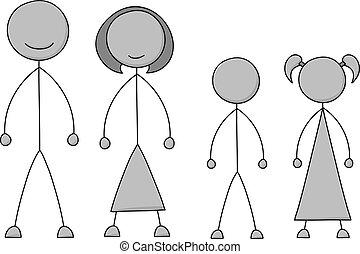 figura, bastone, famiglia