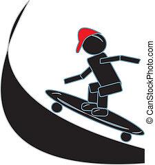 figura bastone, skateboarding