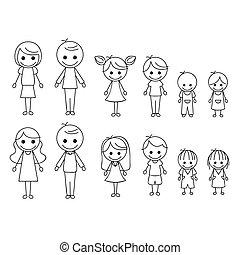 figura, famiglia, bastone