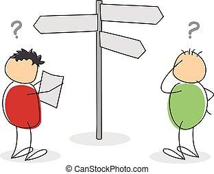 figura, perso, due, cartone animato, bastone, colorito, turisti
