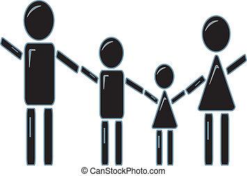 figura, presa a terra, bastone, famiglia, mani