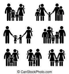 figura, set, bastone, famiglia, icona