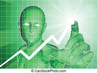figura, tendenza, tracciato, grafico, futuristico, verso alto