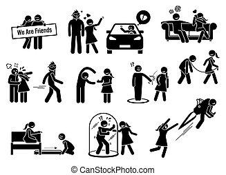 figure, amico, friendzone, concetto, zona, illustrazioni, bastone, o, icons.
