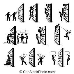 figure, persone, parete, bastone, icons., pictogram