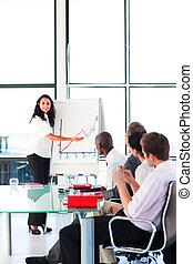 figure vendite, donna d'affari, segnalazione, riunione