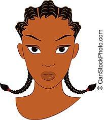 fila, afro, ragazza, granaglie, treccia, treccia