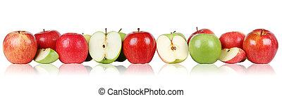 fila, bordo, mela, mele, frutte