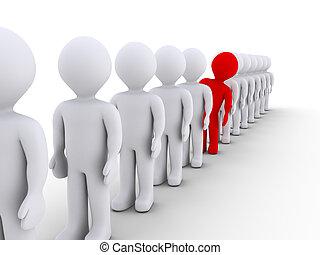 fila, differente, uno, ma, persone