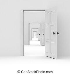 fila, doors., concetto, aperto, possibilities.