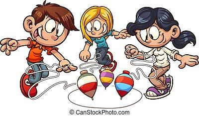 filatura, bambini, cima