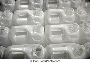 file, bianco, bottiglie, fabbrica, plastica