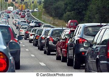 file, blocco traffico, automobili