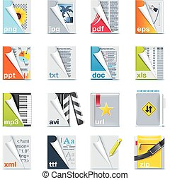 file, cartelle, set, icone