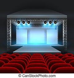file, concerto, teatro, riflettore, podio, lighting., vuoto, posti, salone, rosso, palcoscenico