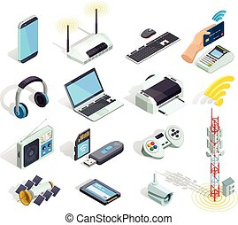 fili, icone, set, congegni, isometrico, tecnologia