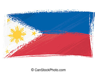 filippine, grunge, bandiera