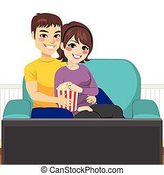 film, coppia, divano