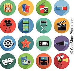 film, icone, set, appartamento