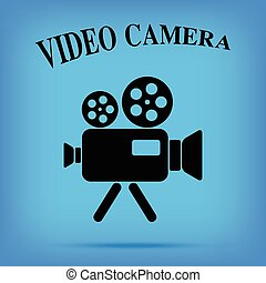 film, isolato, macchina fotografica, video, fondo, vendemmia, icona