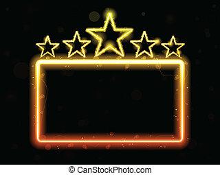 film, neon, stella, copyspace, segno