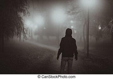 film, stile, fog., autunno, noir, orrore, scena, illuminazione