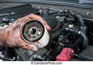 filtro, auto, olio, meccanico, presa a terra