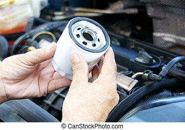 filtro, automobile, olio