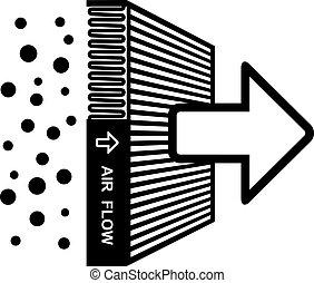 filtro, simbolo, vettore, effetto, aria