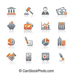 finanza, affari, &, icone, /, grafite