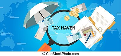 finanza affari, protezione, soldi, paese, porto, illustrazione, tassa