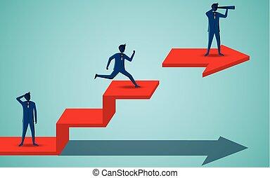 finanza, affari, uomini affari, leadership., binocolo, startup., success., arrow., vettore, cartone animato, rosso, illustrazione, standing, presa a terra