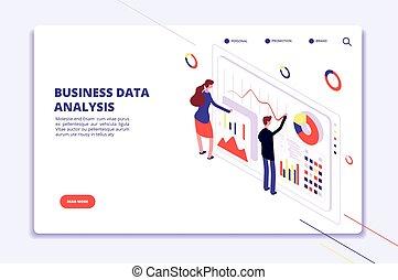 finanza, affari, vettore, persone, grande, charts., analysis., statistico, lavoro, surveillance., isometrico, concetto, dati