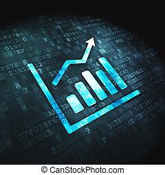 finanza, grafico, crescita, fondo, digitale, concept: