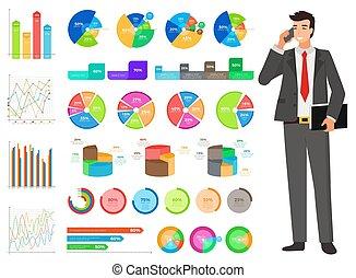 finanza, grafico, lavoratore, relazione, vettore, conteggio