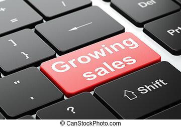 finanza, vendite, computer, fondo, tastiera, crescente, concept: