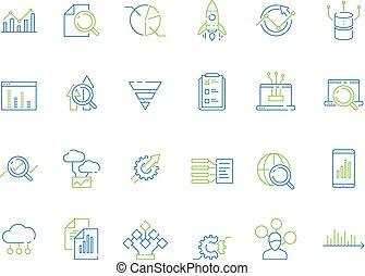 finanziario, affari, analisi, strategia, diagramma, direttore, analizzatore, grafica, icon., risque, dati, ricerca